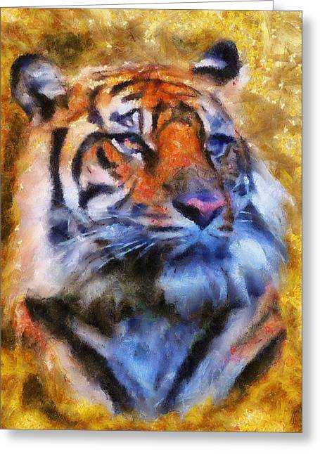 Tiger Portrait Greeting Card by Jai Johnson