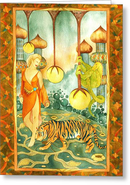 Oriental Tiger Greeting Cards - Tiger Retreat Greeting Card by Susan C Mills