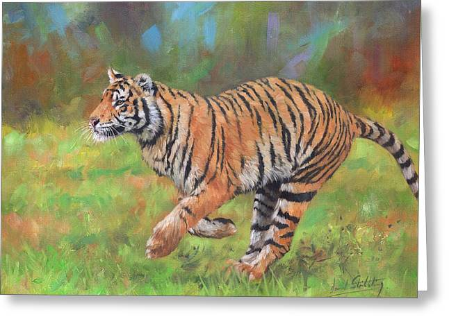 Greeting Card featuring the painting Tiger Running by David Stribbling