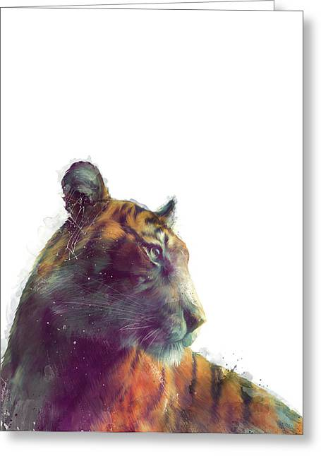 Tiger // Solace - White Background Greeting Card by Amy Hamilton