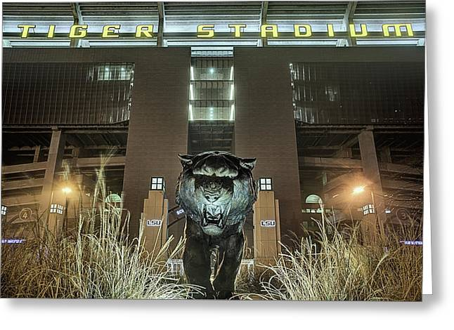 Tiger Stadium On Saturday Night Greeting Card