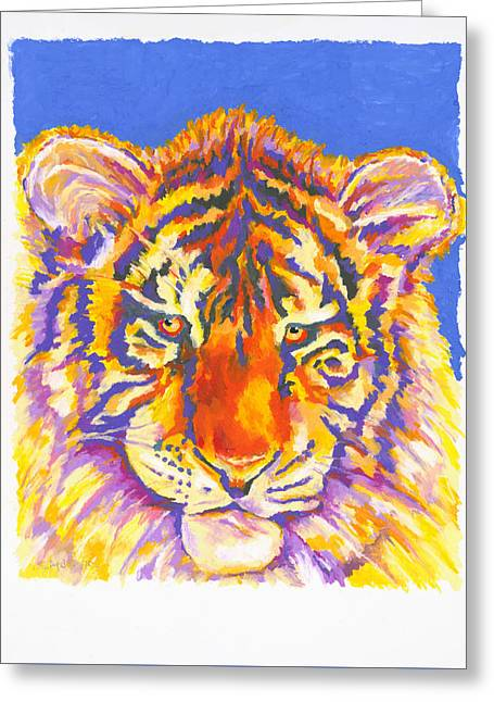 Greeting Card featuring the painting Tiger by Stephen Anderson