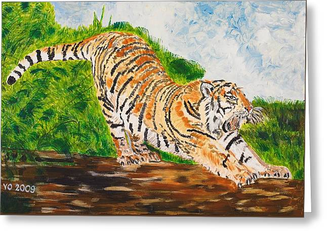 Tiger Stretching Greeting Card