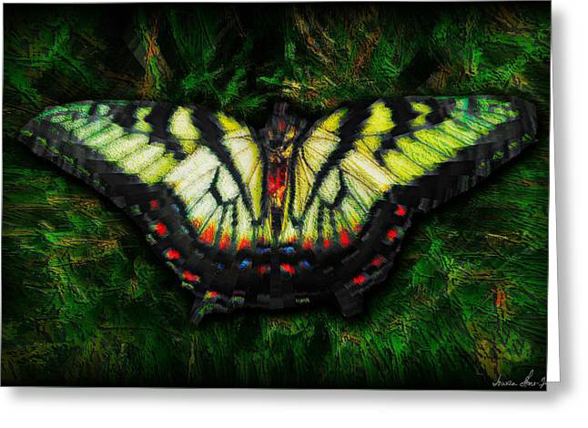 Greeting Card featuring the photograph Tiger Swallowtail by Iowan Stone-Flowers
