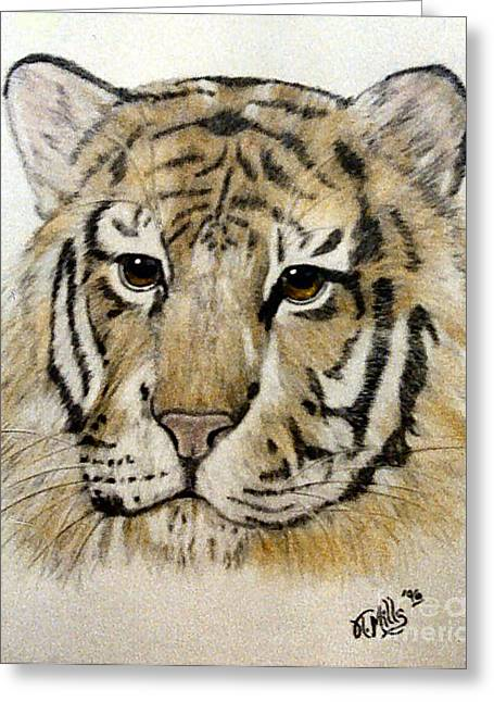Greeting Card featuring the drawing Tiger by Terri Mills