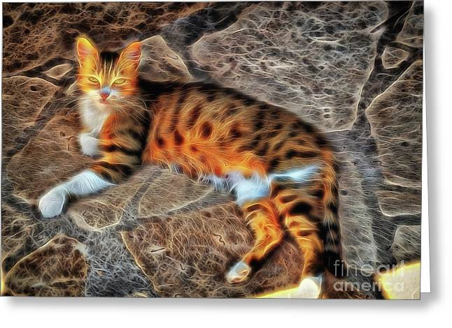 Greeting Card featuring the photograph Tiger Tiger Burning Bright by Leigh Kemp