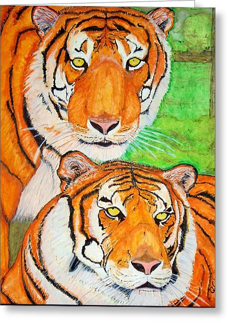 Tiger Twins Greeting Card by Jose Cabral