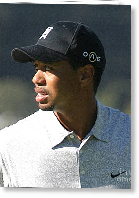 Tiger Woods Greeting Card by Chuck Kuhn