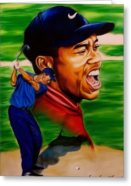 Tiger Woods. Greeting Card by Darryl Matthews