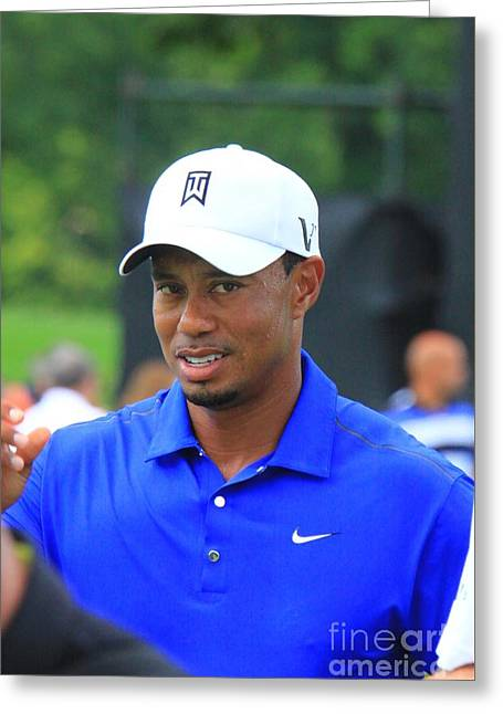 Pro Golfer Tiger Woods Greeting Card by Douglas Sacha