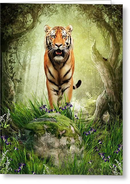 Tiger Woods Greeting Card by Julie L Hoddinott