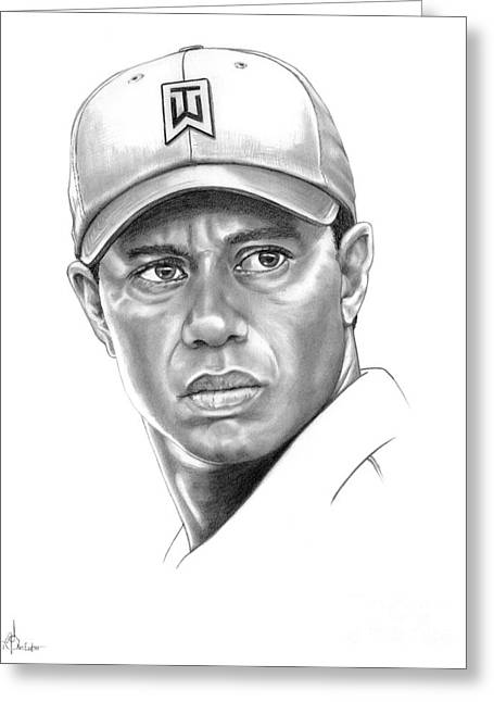 Tiger Woods Greeting Cards - Tiger Woods Greeting Card by Murphy Elliott