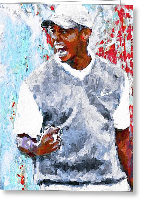 Tiger Woods One Two Red Painting Digital Greeting Card
