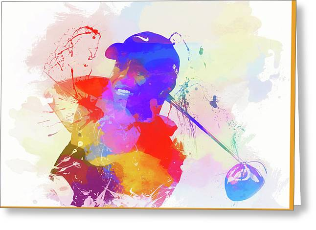 Tiger Woods Watercolor Greeting Card by Dan Sproul