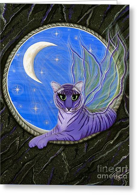 Tigerpixie Purple Tiger Fairy Greeting Card by Carrie Hawks