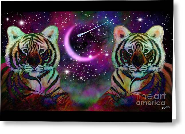 Tigers And Crescent Moon Greeting Card by Nick Gustafson