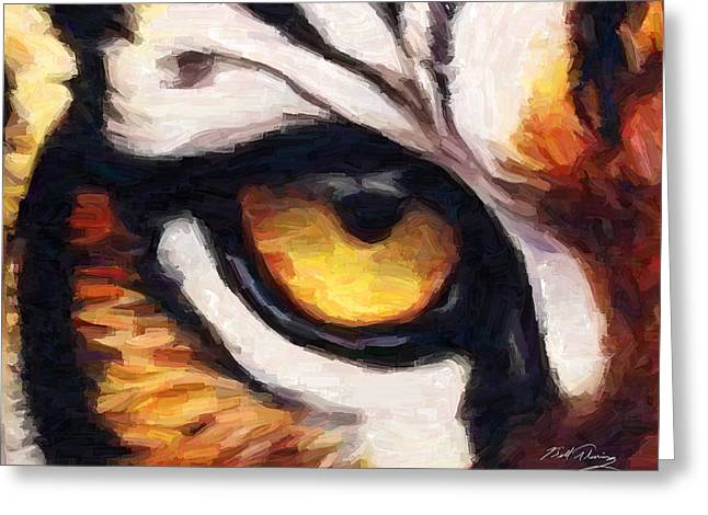 Watercolor Tiger Greeting Cards - Tigers Eye Greeting Card by Bill Fleming