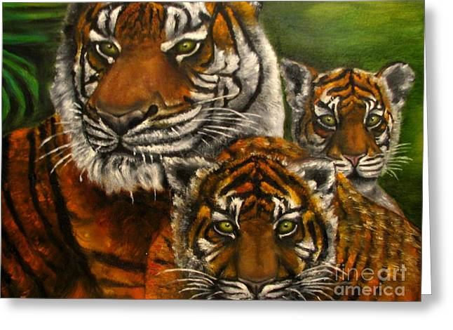 Tigers Family Oil Painting Greeting Card by Natalja Picugina