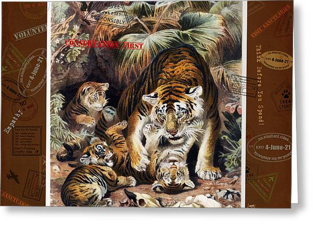 Greeting Card featuring the digital art Tigers For Responsible Tourism by Nola Lee Kelsey