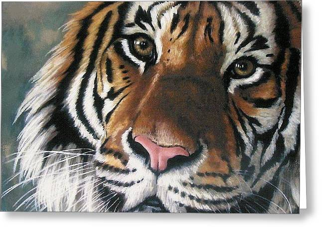 Greeting Card featuring the pastel Tigger by Barbara Keith