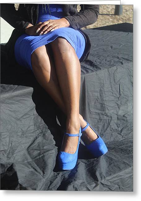 Tight Blue Dress And Heels 2 Greeting Card