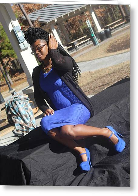 Tight Blue Dress And Heels 5 Greeting Card