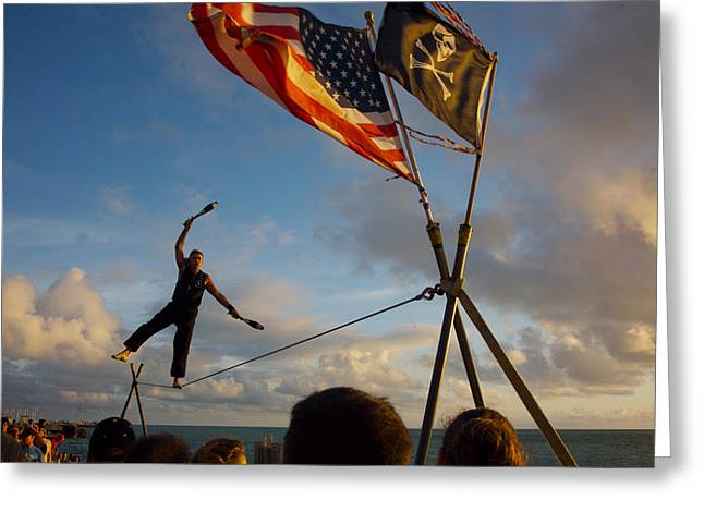 Tight Rope Walker In Key West Greeting Card by Carl Purcell