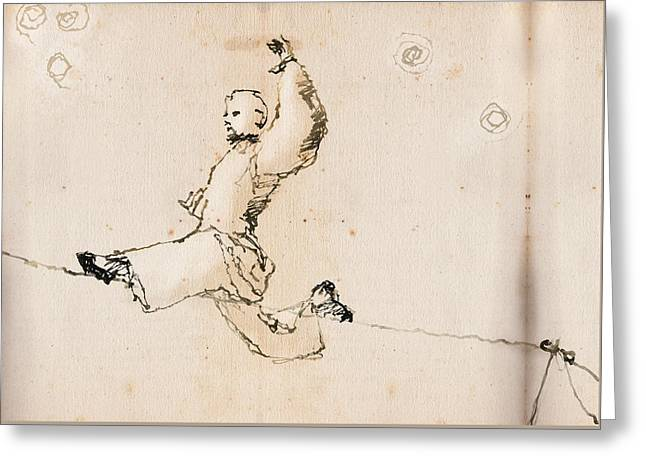 Tightwire Greeting Card by H James Hoff