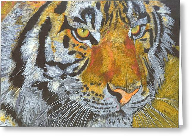 Tigress Greeting Card by Angela   Cater