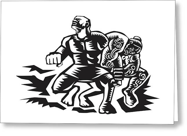 Tiitii Wrestling God Of Earthquake Woodcut Greeting Card by Aloysius Patrimonio