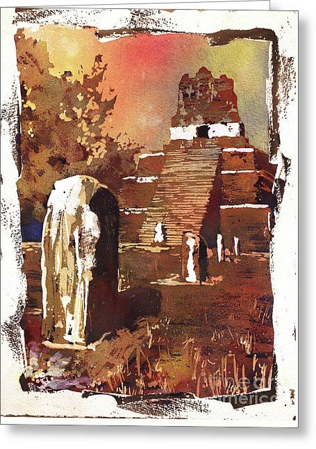 Greeting Card featuring the painting Tikal Mayan Ruins- Guatemala by Ryan Fox