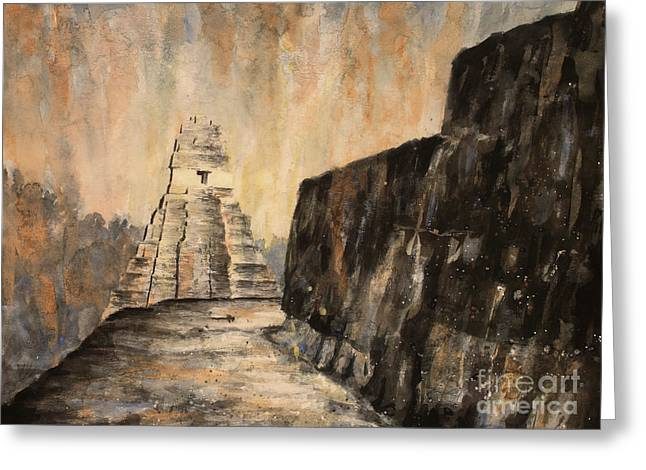 Greeting Card featuring the painting Tikal Ruins- Guatemala by Ryan Fox