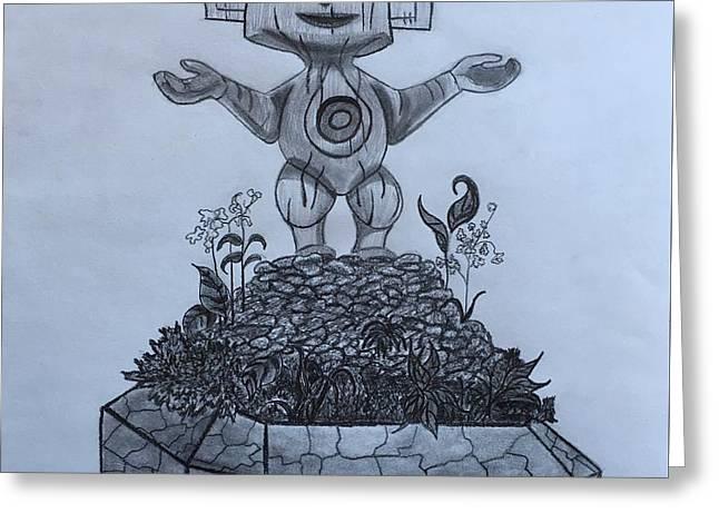 Tiki God Greeting Card by Tony Clark