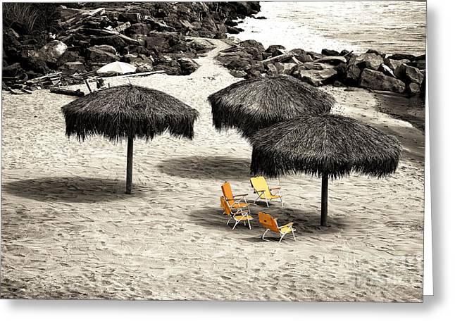 Tiki Huts Fusion Greeting Card by John Rizzuto