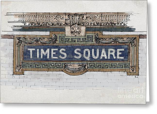 Tile Mosaic Sign, Times Square Subway New York, Handmade Sketch Greeting Card by Pablo Franchi
