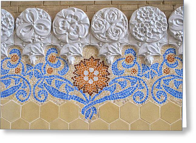 A Mosaic At Hospital De Sant Pau Greeting Card by Dave Mills