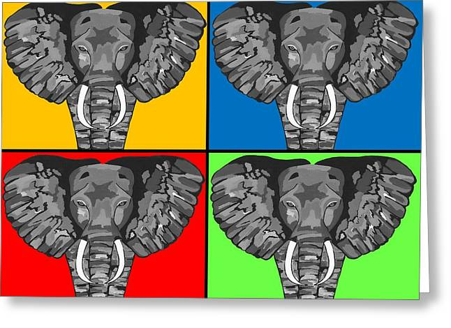 Tiled Elephants Greeting Card