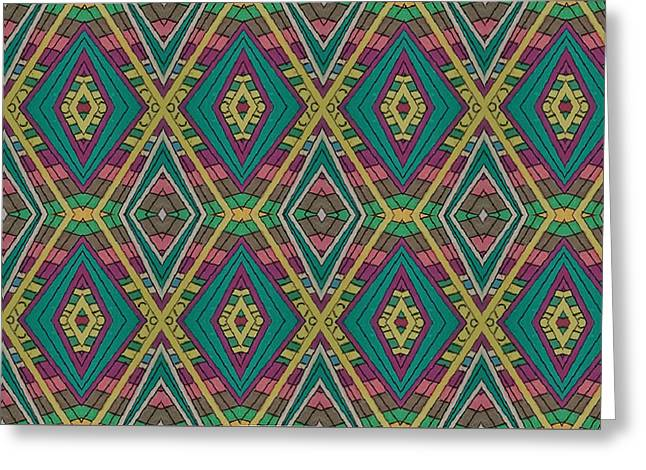 Tiles Greeting Card by Modern Metro Patterns and Textiles