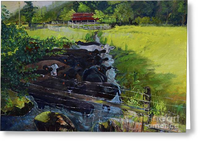 Greeting Card featuring the painting Till The Cows Come Home by Jan Dappen