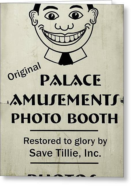 Tillie Photo Booth Sign Greeting Card by Colleen Kammerer