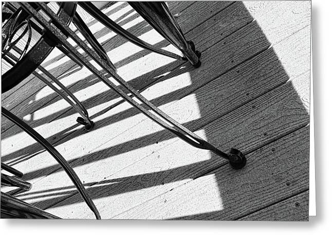 Greeting Card featuring the photograph Tilt Two Black And White Photograph by Ann Powell