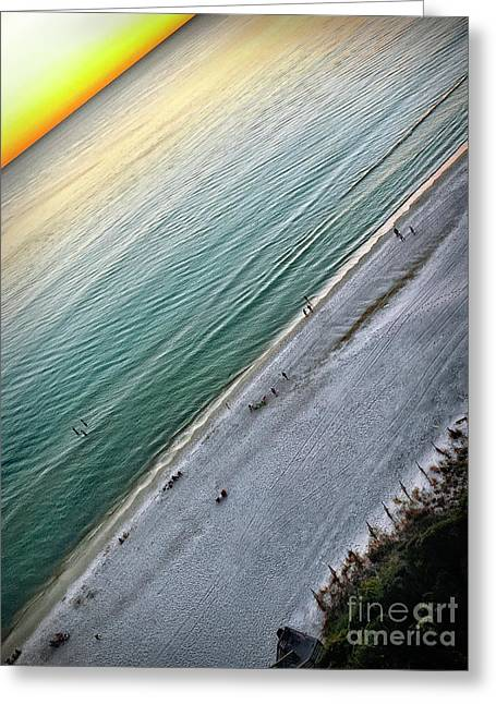 Tilted Rule Of Thirds Beach Sunset Greeting Card by Walt Foegelle