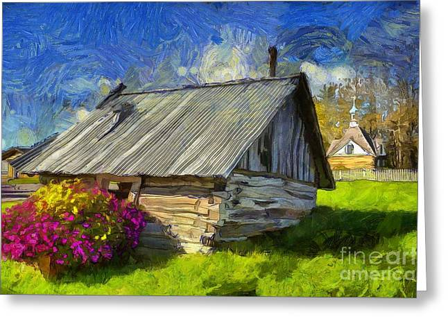 Tilted Shed In Old Town Kenai Greeting Card