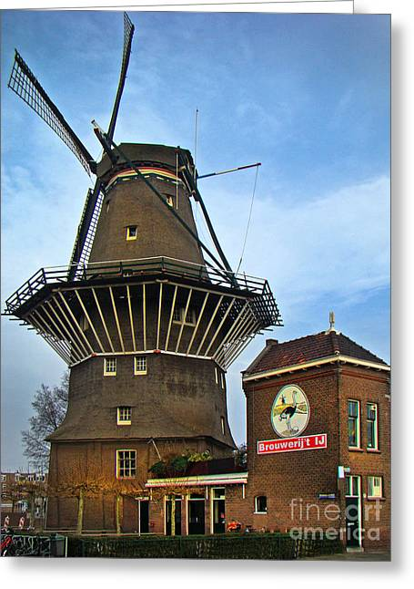 Tilting At Windmills In Amsterdam Greeting Card