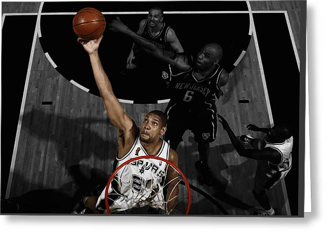 Tim Duncan 5s Greeting Card by Brian Reaves