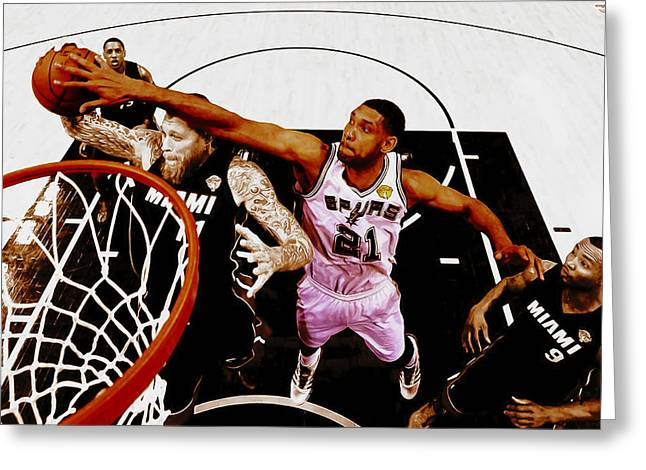Tim Duncan And Birdman Greeting Card by Brian Reaves