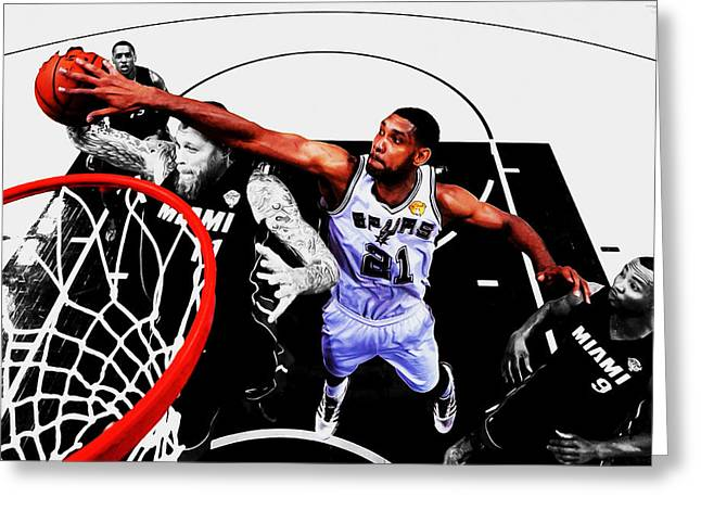 Tim Duncan And The Birdman Greeting Card by Brian Reaves