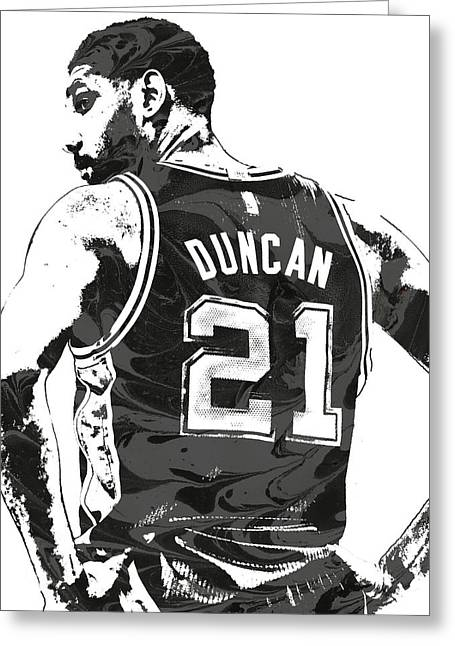 Tim Duncan San Antonio Spurs Pixel Art 2 Greeting Card by Joe Hamilton