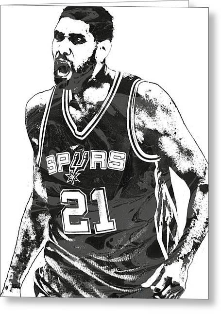 Tim Duncan San Antonio Spurs Pixel Art 3 Greeting Card