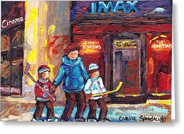 Tim Horton Imax Theatre Downtown Scene Montreal 375 Original Art Canadian Painting Carole Spandau Greeting Card
